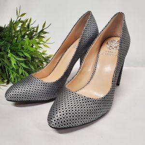 Vince Camuto Danea metallic silver chunky heels